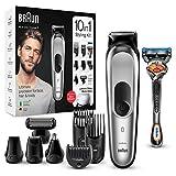 Braun Recortadora MGK7220 10 en 1, Máquina recortadora de barba, set de depilación corporal y...